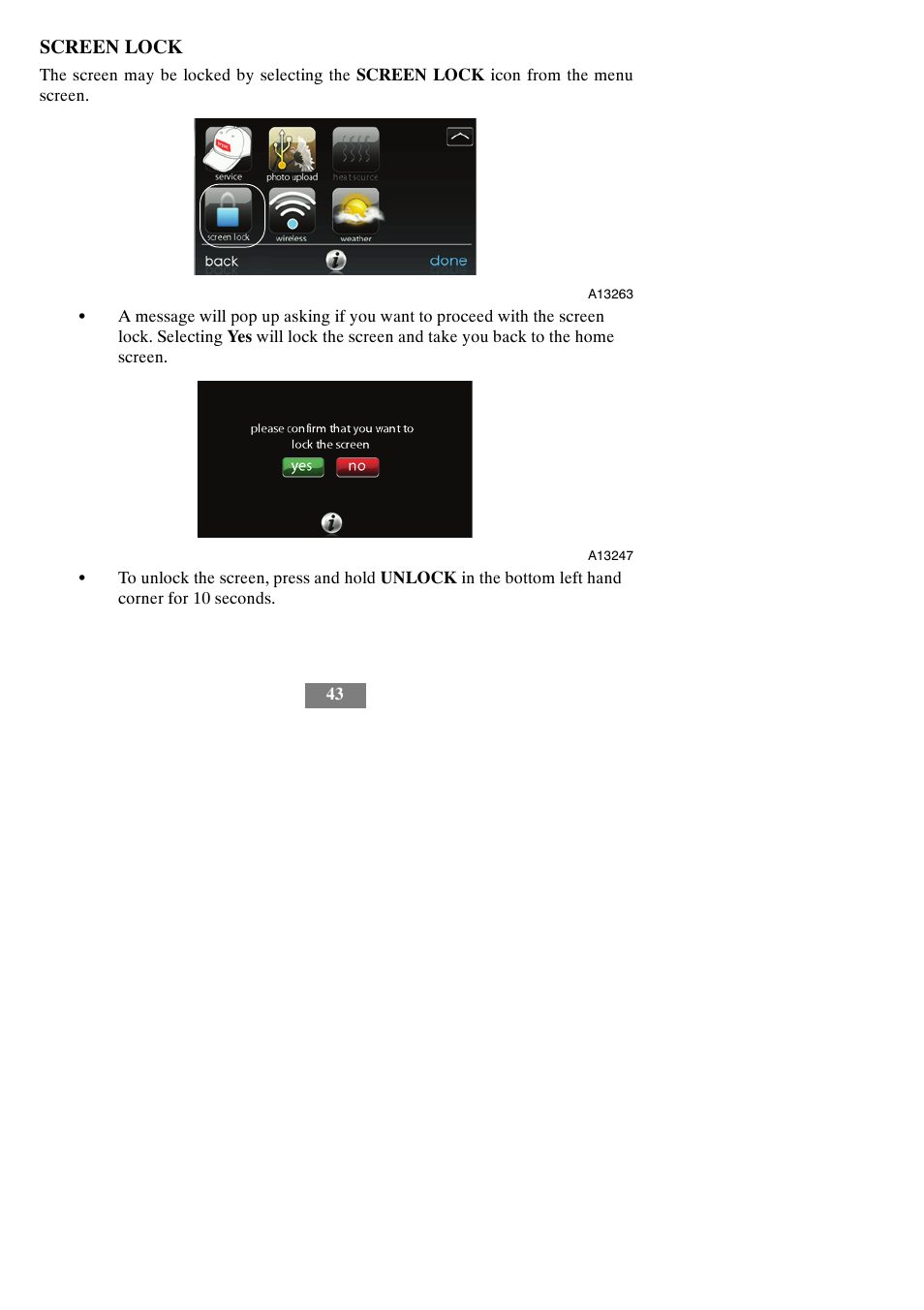 Screen lock   Bryant evolution thermostat SYSTXBBECW01-A User Manual   Page  49 / 68