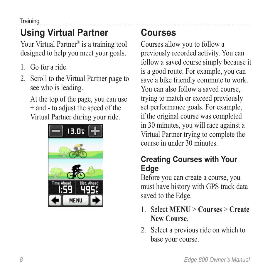 Using virtual partner, Courses | Garmin Edge 800 User Manual | Page