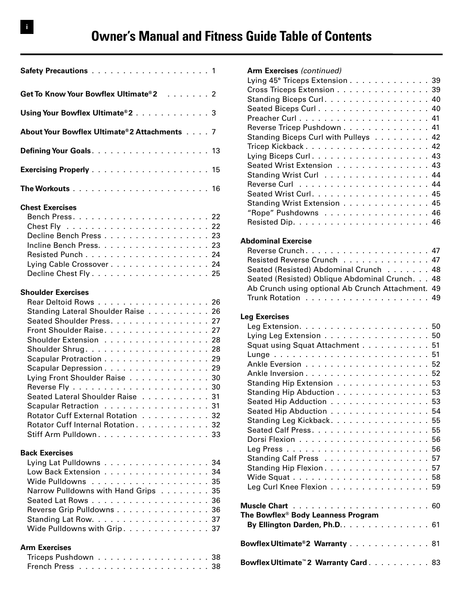 Owner S Manual And Fitness Guide Table Of Contents