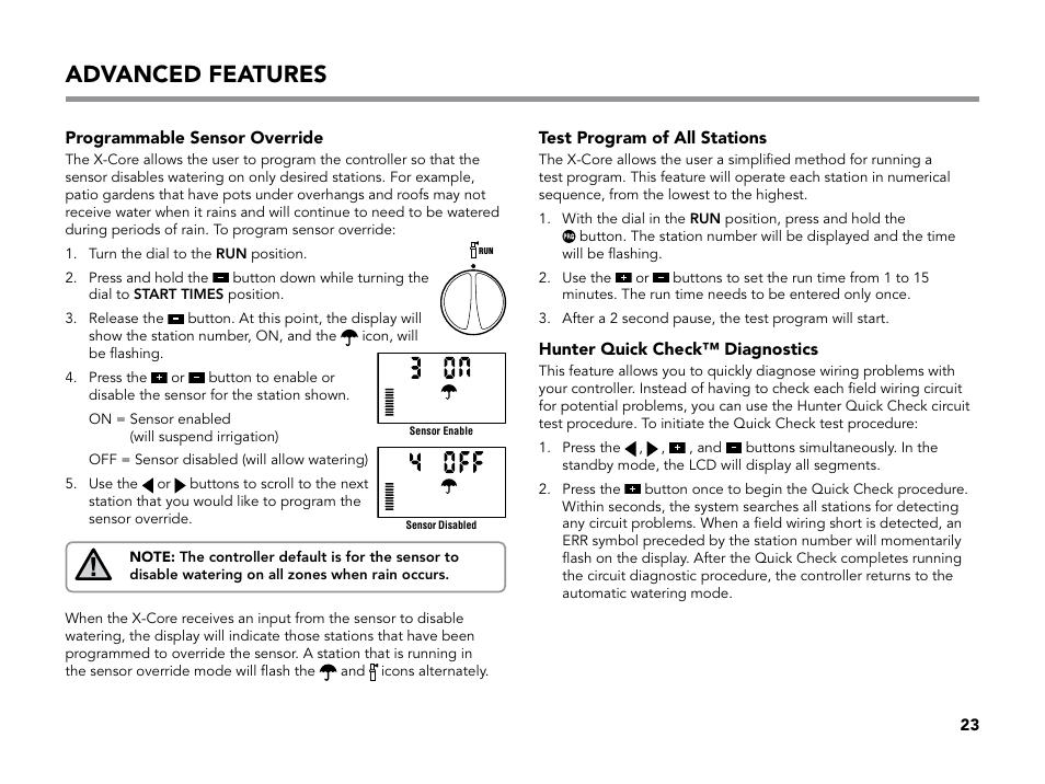 advanced features programmable sensor override test program of all stations hunter x core. Black Bedroom Furniture Sets. Home Design Ideas
