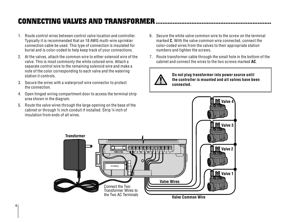 Connecting valves and transformer | Hunter SRC User Manual | Page 10 ...