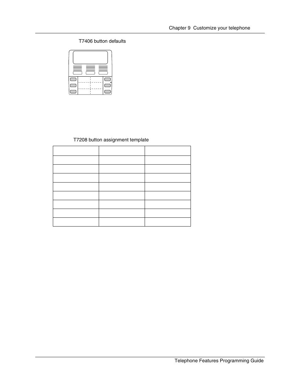 T7208/m7208(n) telephone button defaults, Figure 13, T7406 button