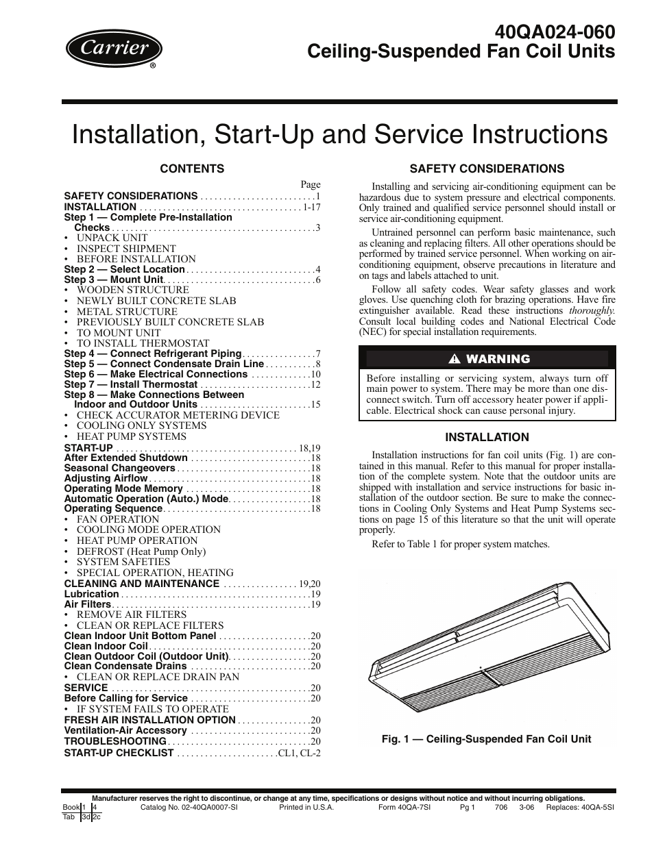 Carrier 40QA024-060 User Manual | 24 pages