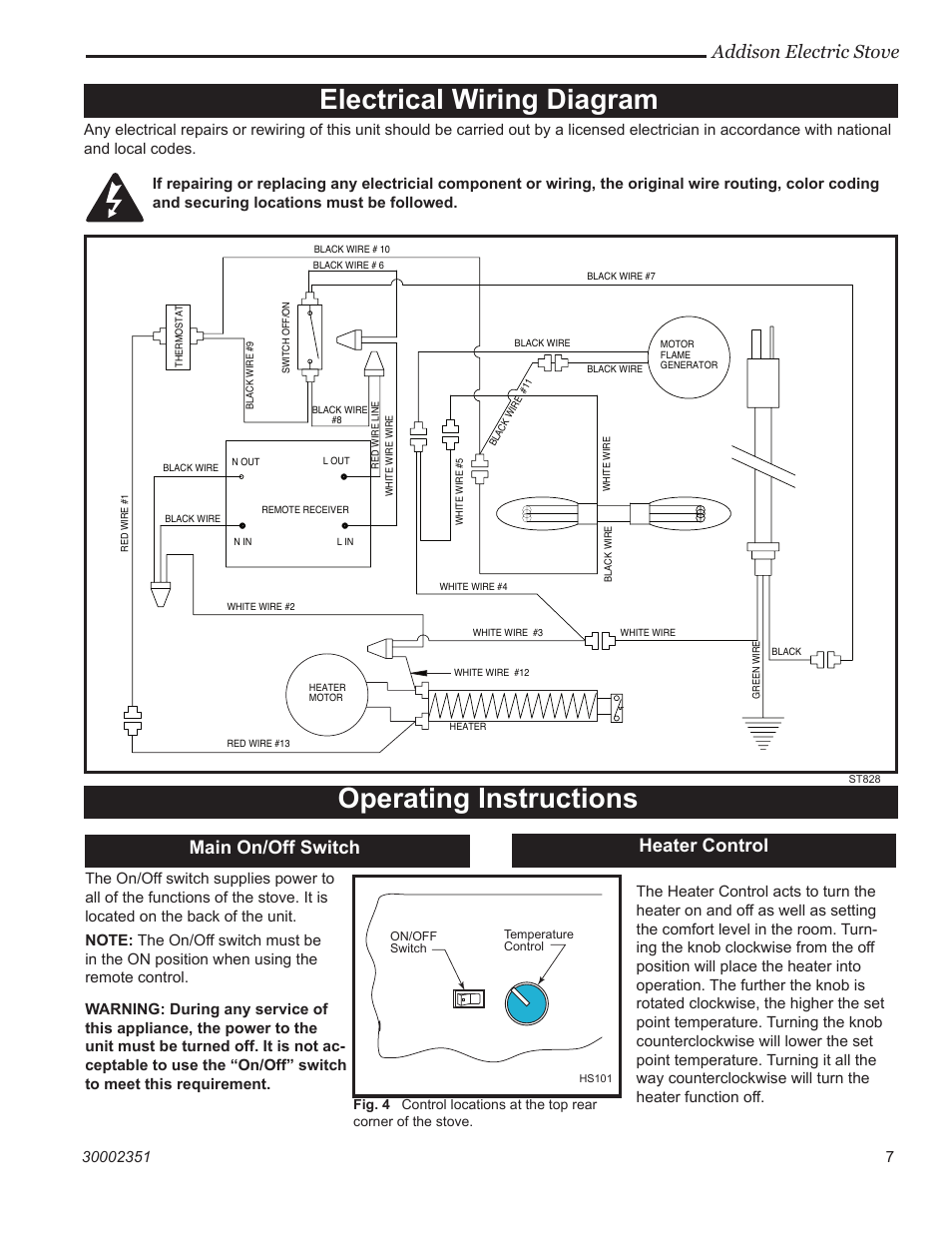 electrical wiring diagram operating instructions addison. Black Bedroom Furniture Sets. Home Design Ideas