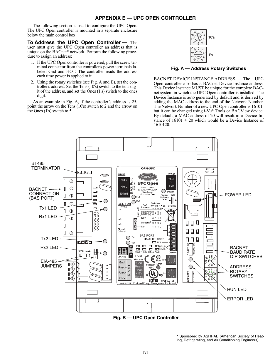 Appendix E Upc Open Controller Carrier Weathermaker 48 50aj User Dip Rotary Switch Wiring Diagram Manual Page 171 190