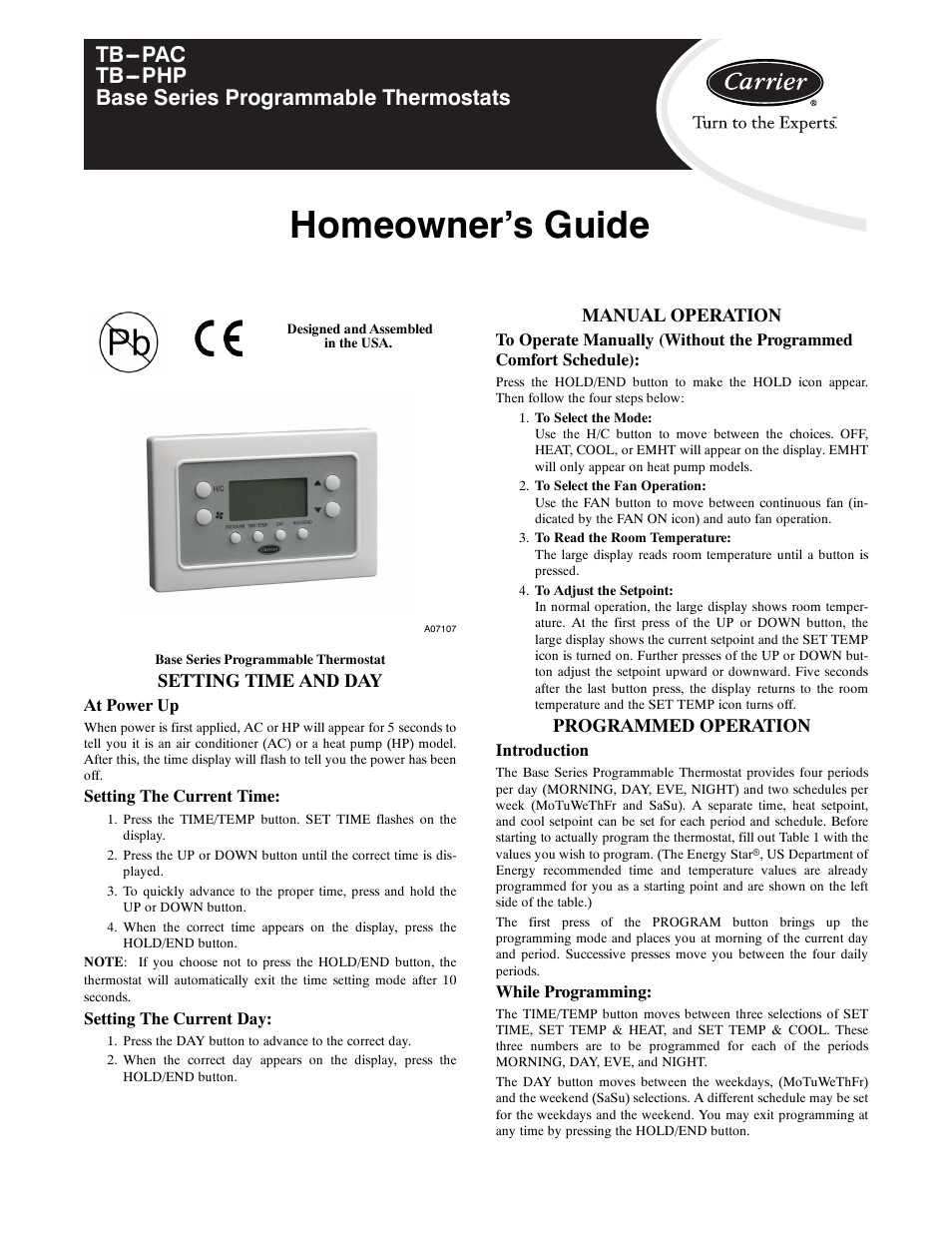 Homeowner S Guide Setting Time And Day Manual Operation Carrier Base Series Programmable Thermostats Tb Pac User Page 5 8