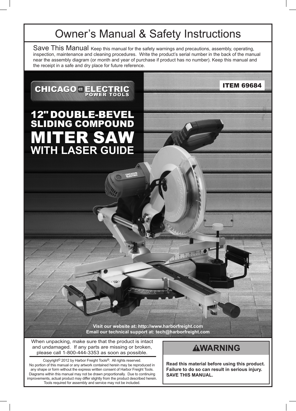 Chicago electric power tools 12 double bevel sliding compound miter chicago electric power tools 12 double bevel sliding compound miter saw with laser guide 69684 user manual 20 pages greentooth Choice Image