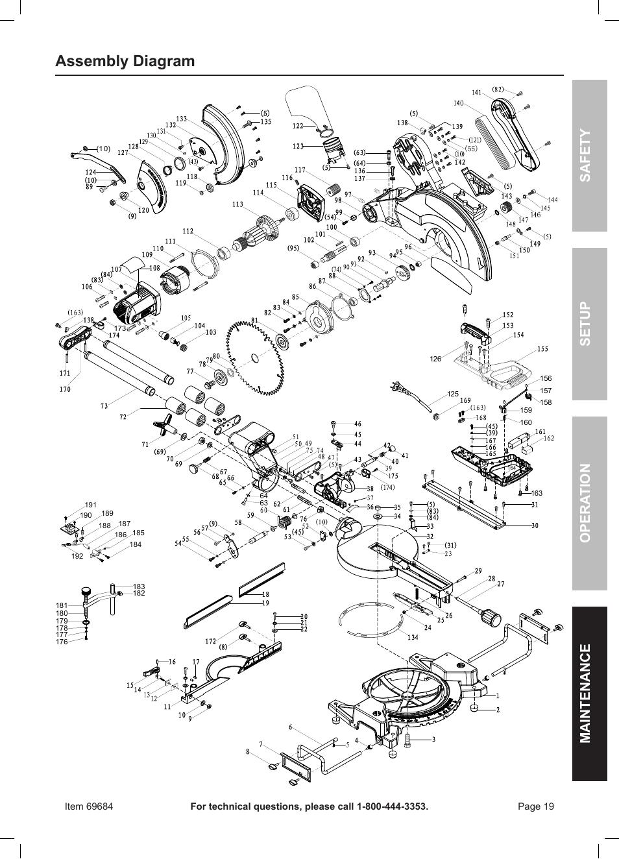 assembly diagram  safety opera tion maintenance setup