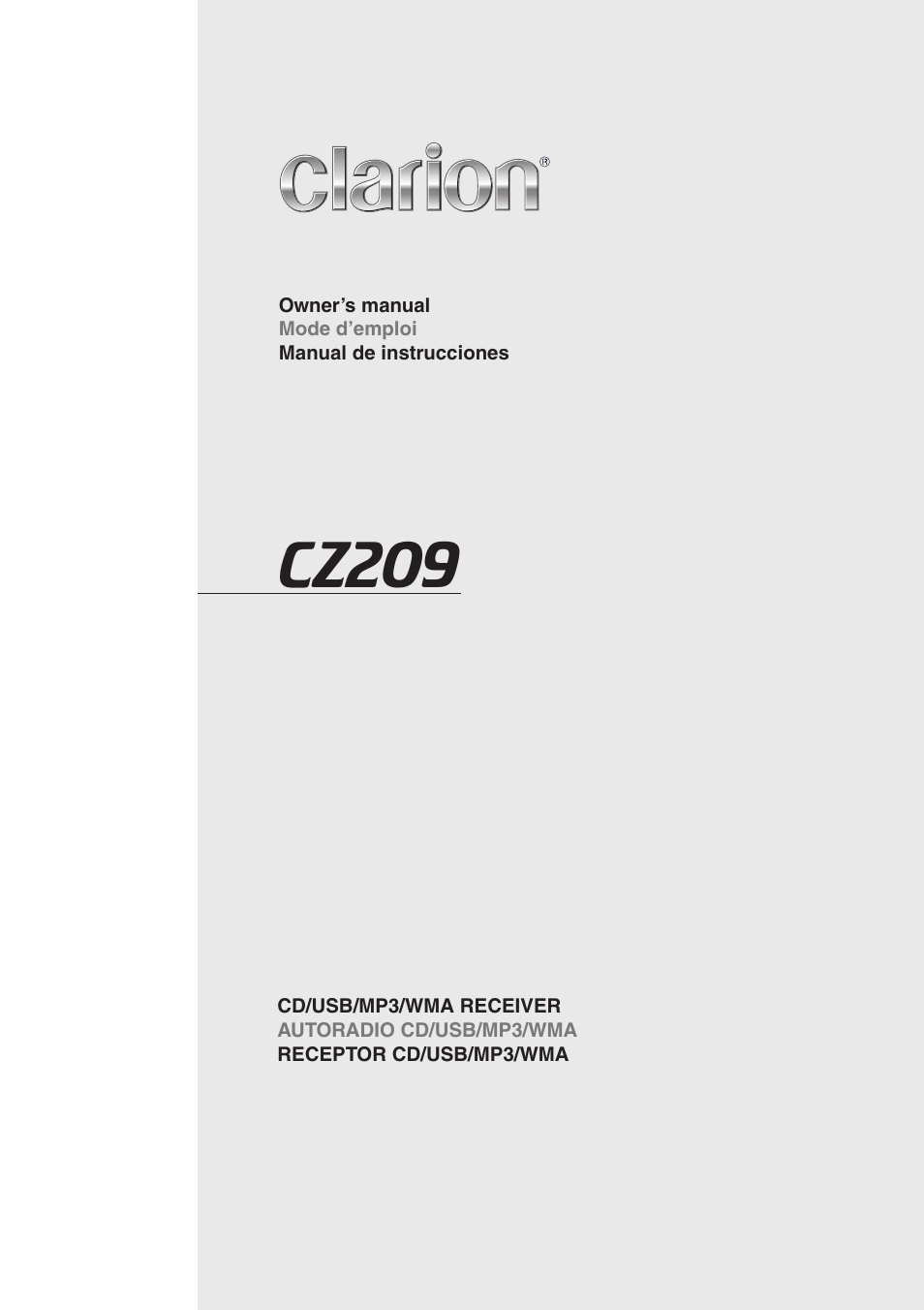 clarion cz209 user manual 23 pages rh manualsdir com Operators Manual Manuals in PDF