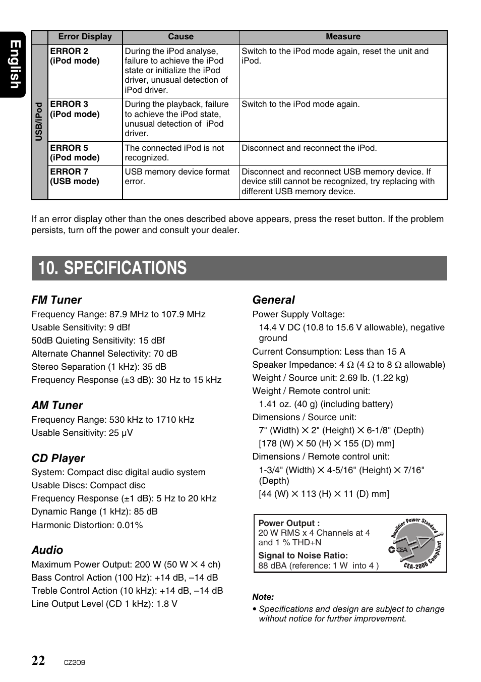 specifications english 22 clarion cz209 user manual page 22 23 rh manualsdir com Instruction Manual Example User Guide