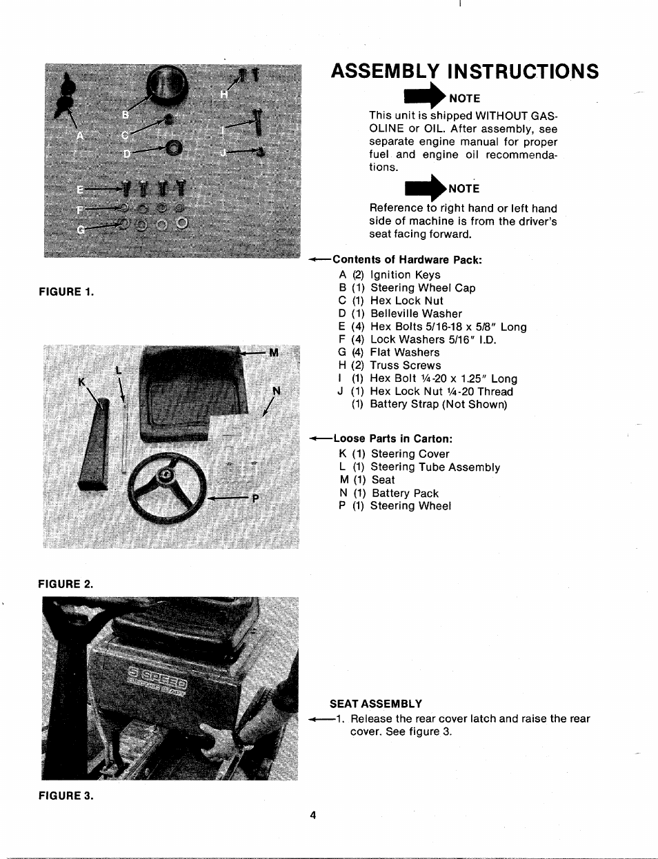 Assembly instructions, Note, Contents of hardware pack