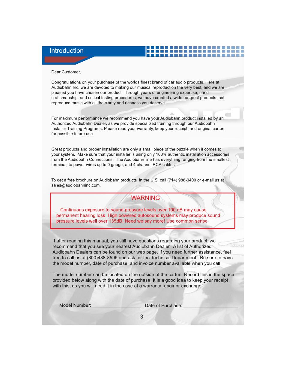 Warning | AudioBahn Natural Sound Subwoofer AW1571T User Manual ...