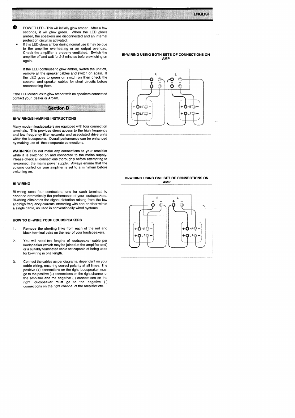 Section D Bi Wiring Amping Instructions Using Both Amp Diagram Sets Of Connections On Arcam Amplifiers Alpha 9 9p User Manual Page 8 12