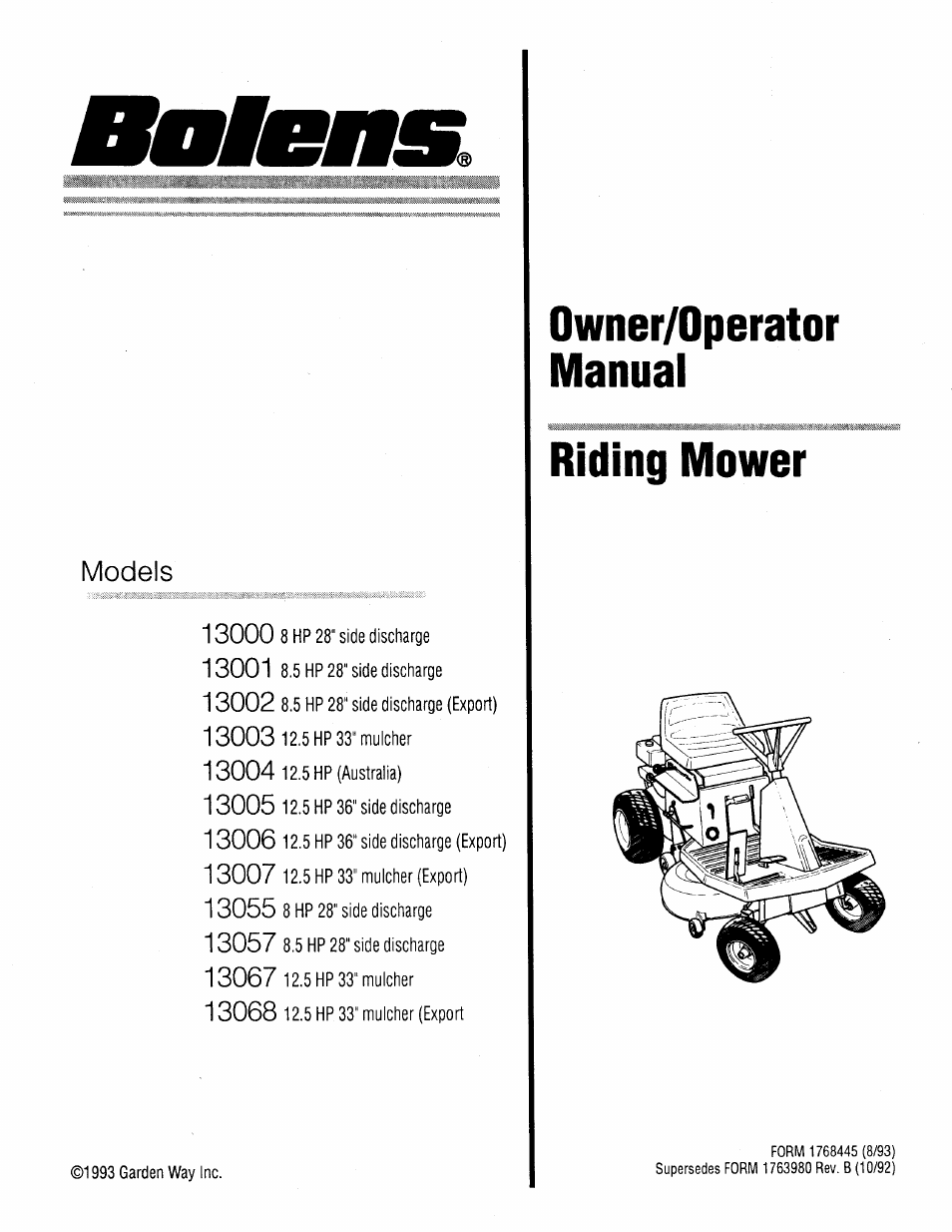 Bolens 13067 User Manual | 36 pages | Also for: 13002, 13006, 13007, 13005,  13004, 13003, 13057, 13000, 13068, 13001, 13055