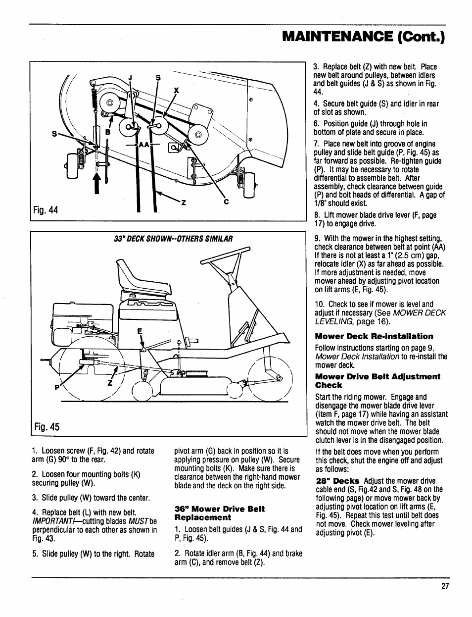 bolens mower deck belt replacement