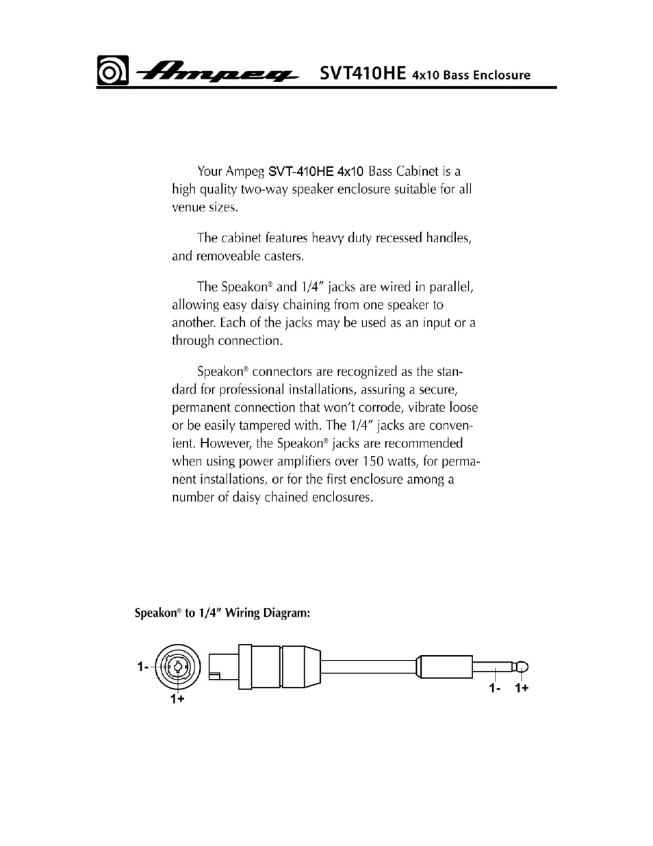 Svt410he Ampeg Svt 410he User Manual Page 2 4 Daisy Chain Speakers Wiring Diagram