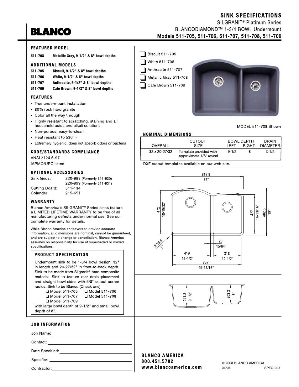 Blanco 511-705 Kitchen Sink 2 Bowl Kitchen & Bath Fixtures Tools ...
