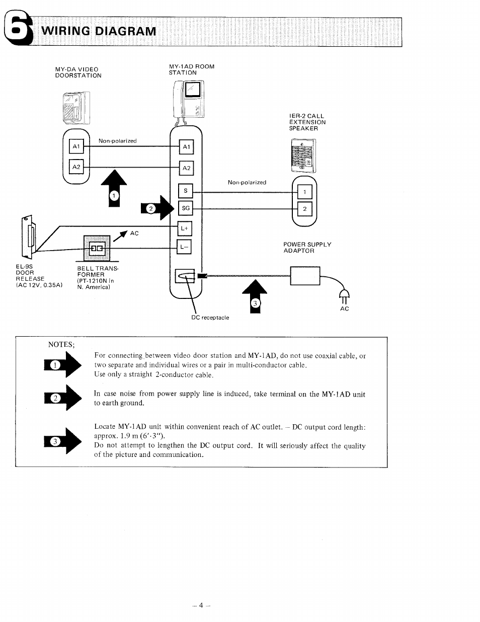 Wiring Diagram Aiphone My 1ad User Manual Page 4 6