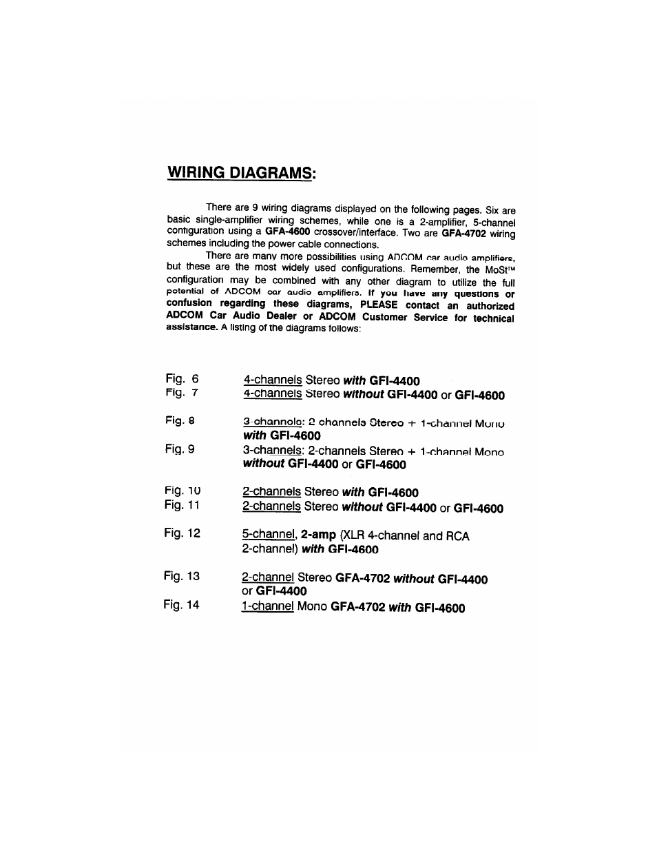 Wiring Diagrams Channels Stereo With Gfi 4400 1channel Amp Diagram Without Or 4600 Adcom Gfa 4304 User Manual Page 13 24