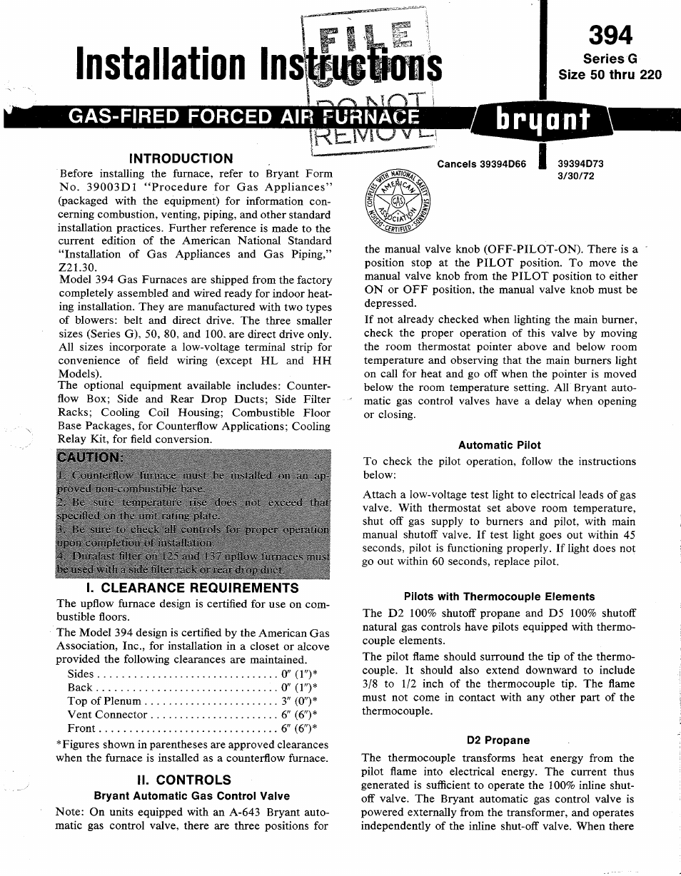 bryant 394 gas page1 bryant 394 gas user manual 6 pages  at n-0.co