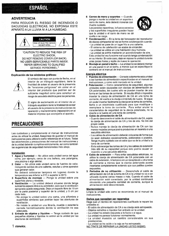 espa ol advertencia explicaci n de los s mbolos gr ficos aiwa rh manualsdir com Aiwa Nsx- A202 Aiwa Nsx V9000
