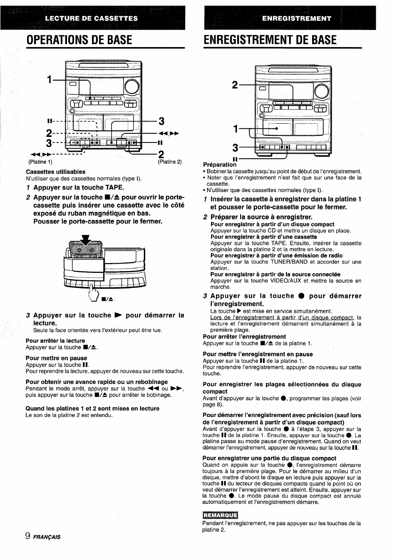 enregistrement de base cassettes utilisables pour arr ter la rh manualsdir com Aiwa Nsx D707 Aiwa Nsx V9000
