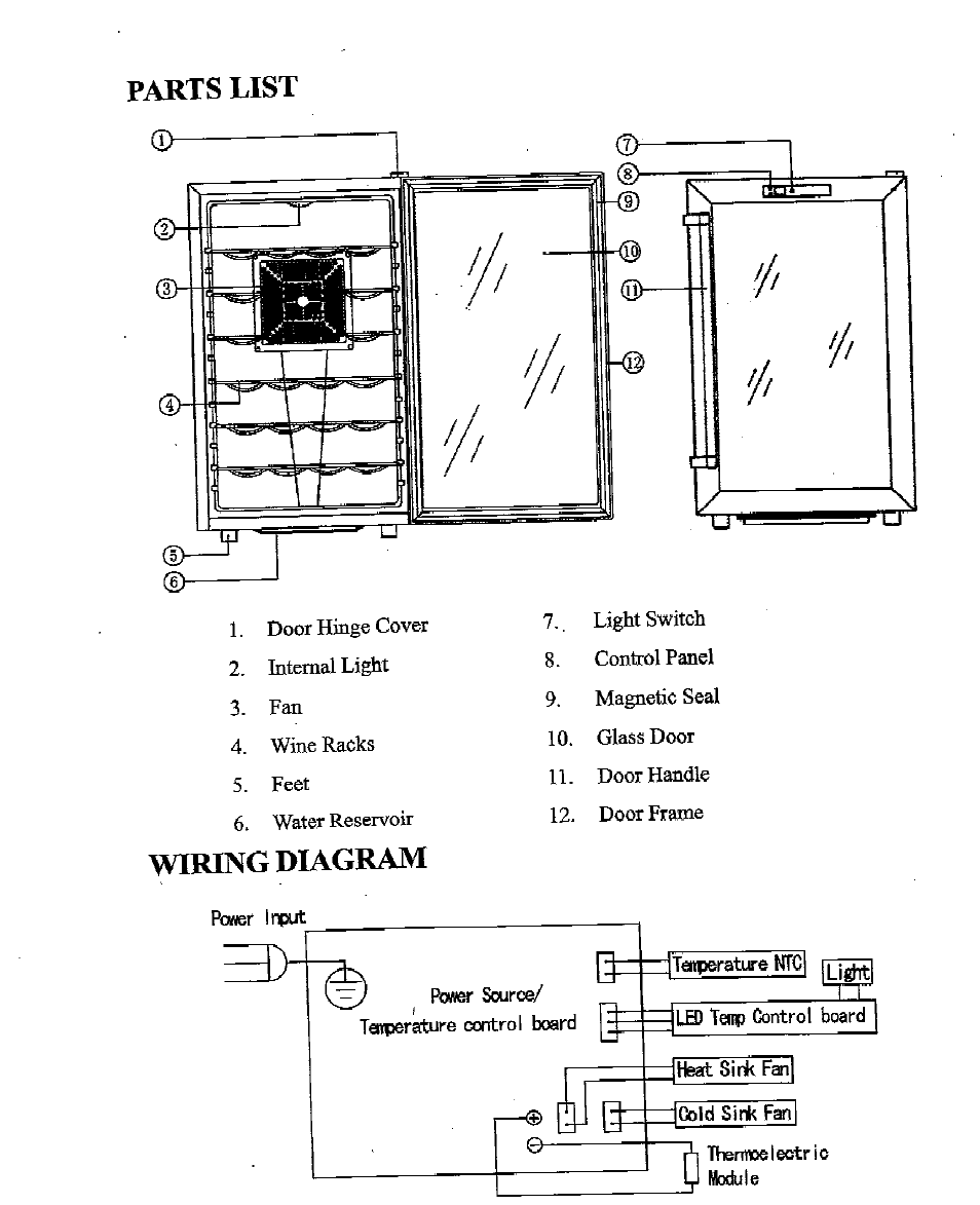 parts list, wiring diagram newair aw 281e user manual page 3 8 Schematic Circuit Diagram