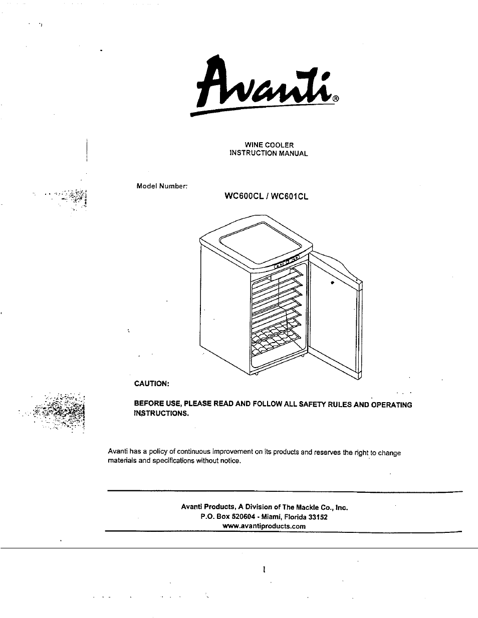 Avanti Wiring Diagram Library Car Diagrams Wc600cl User Manual 15 Pages Also For Wc601cl