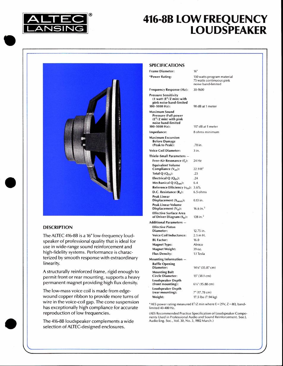 Altec Lansing 416-8B User Manual | 2 pages