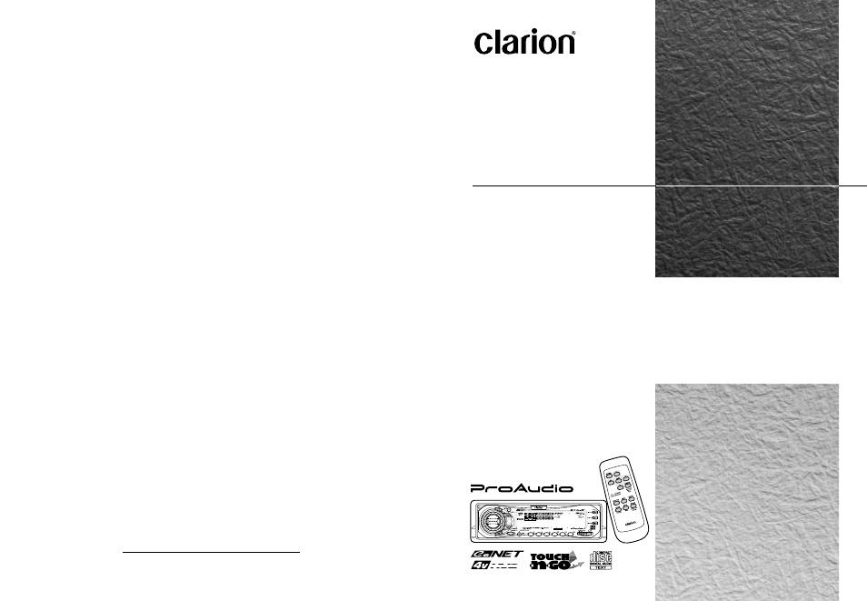 clarion drx8675z user manual 26 pages Owner's Manual Operators Manual