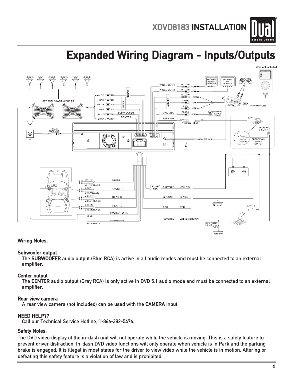 dual xdvd8183 page7 expanded wiring diagram inputs outputs, xdvd8183 installation dual xdvd8183 wiring harness at nearapp.co