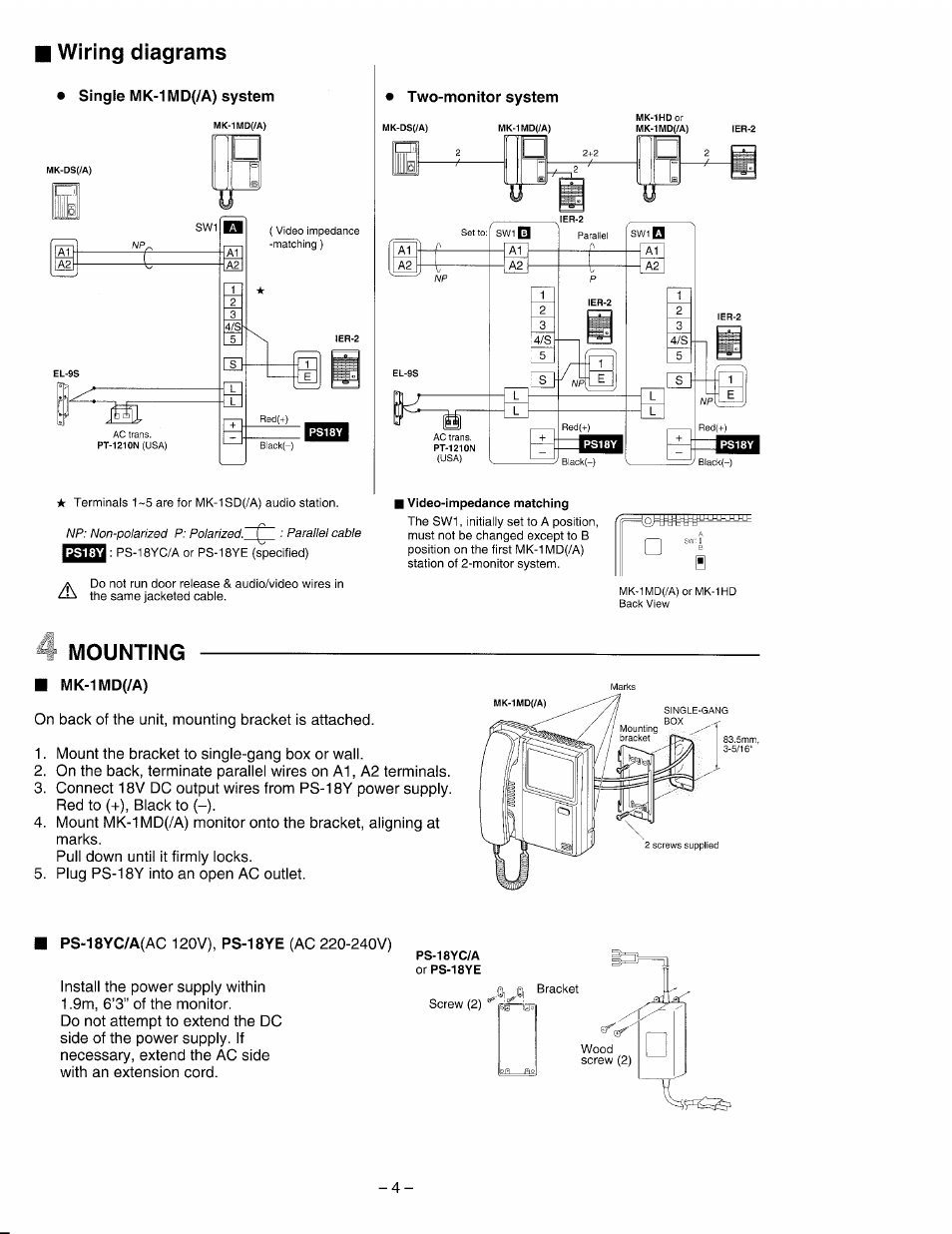 Wiring Diagrams  Single Mk A  System  J Mounting