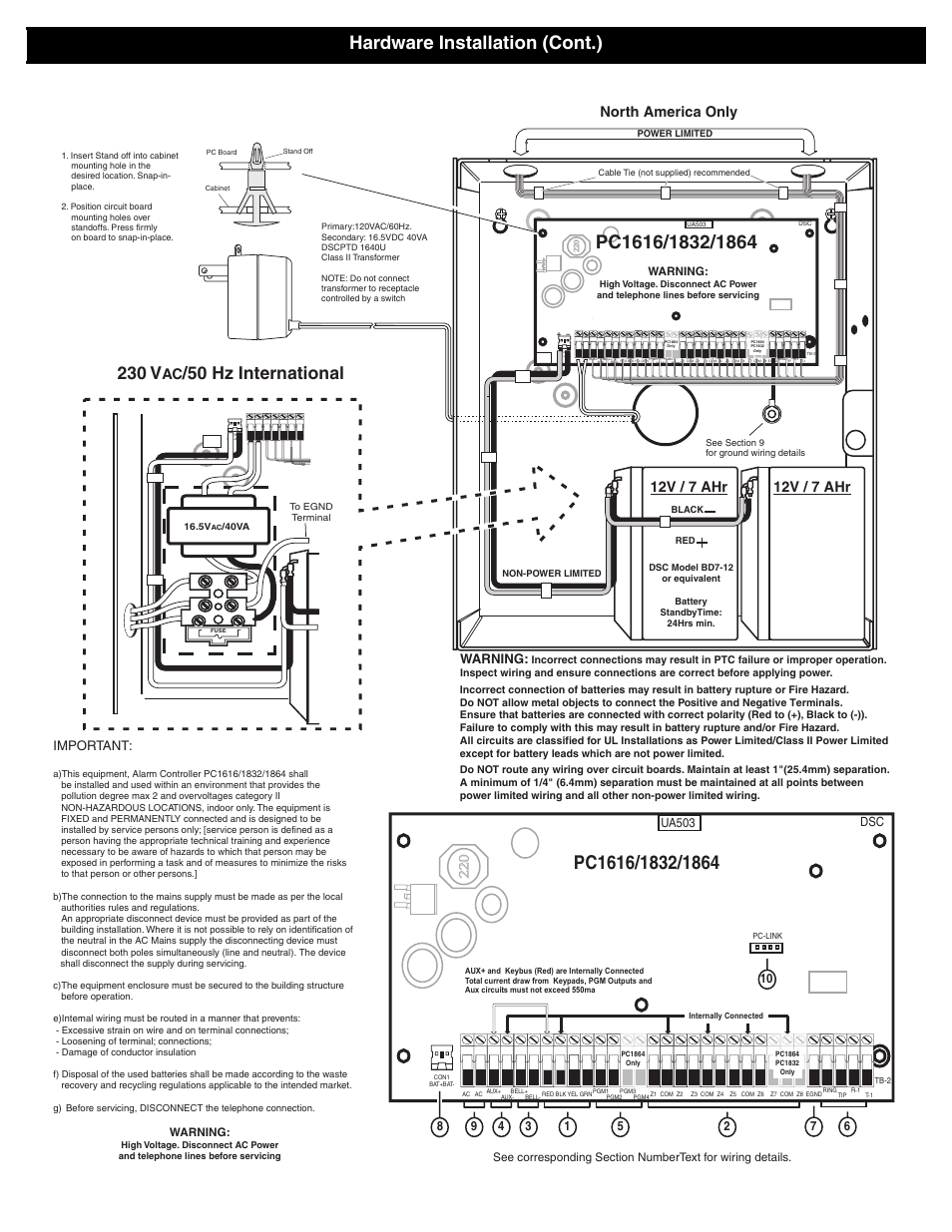 12v / 7 ahr, 12v / 7 ahr north america only | DSC POWERSERIES PC1616 User  Manual | Page 3 / 16