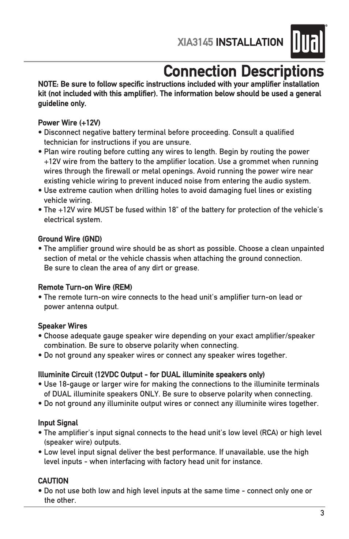 Connection descriptions, Xia3145 installation | Dual XIA3145 User ...
