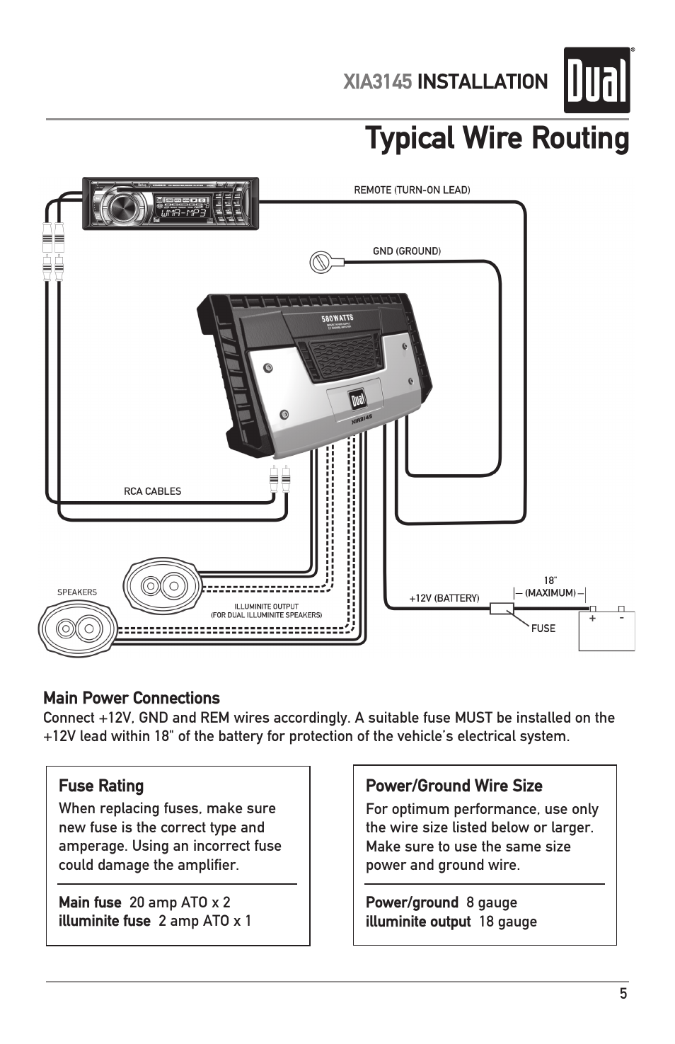 Typical wire routing | Dual XIA3145 User Manual | Page 5 / 12
