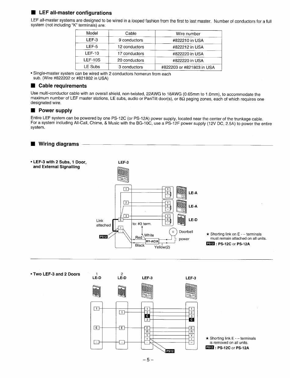 Cable requirements, Power supply, Wiring diagrams | Aiphone LEF-3 User  Manual | Page 5 / 12