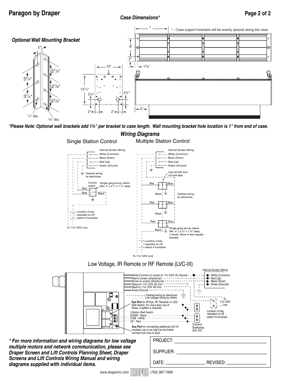 draper paragon large electrically operated projection screen page2 paragon by draper, page 2 of 2, wiring diagrams draper paragon Projector Wiring Setup at mifinder.co