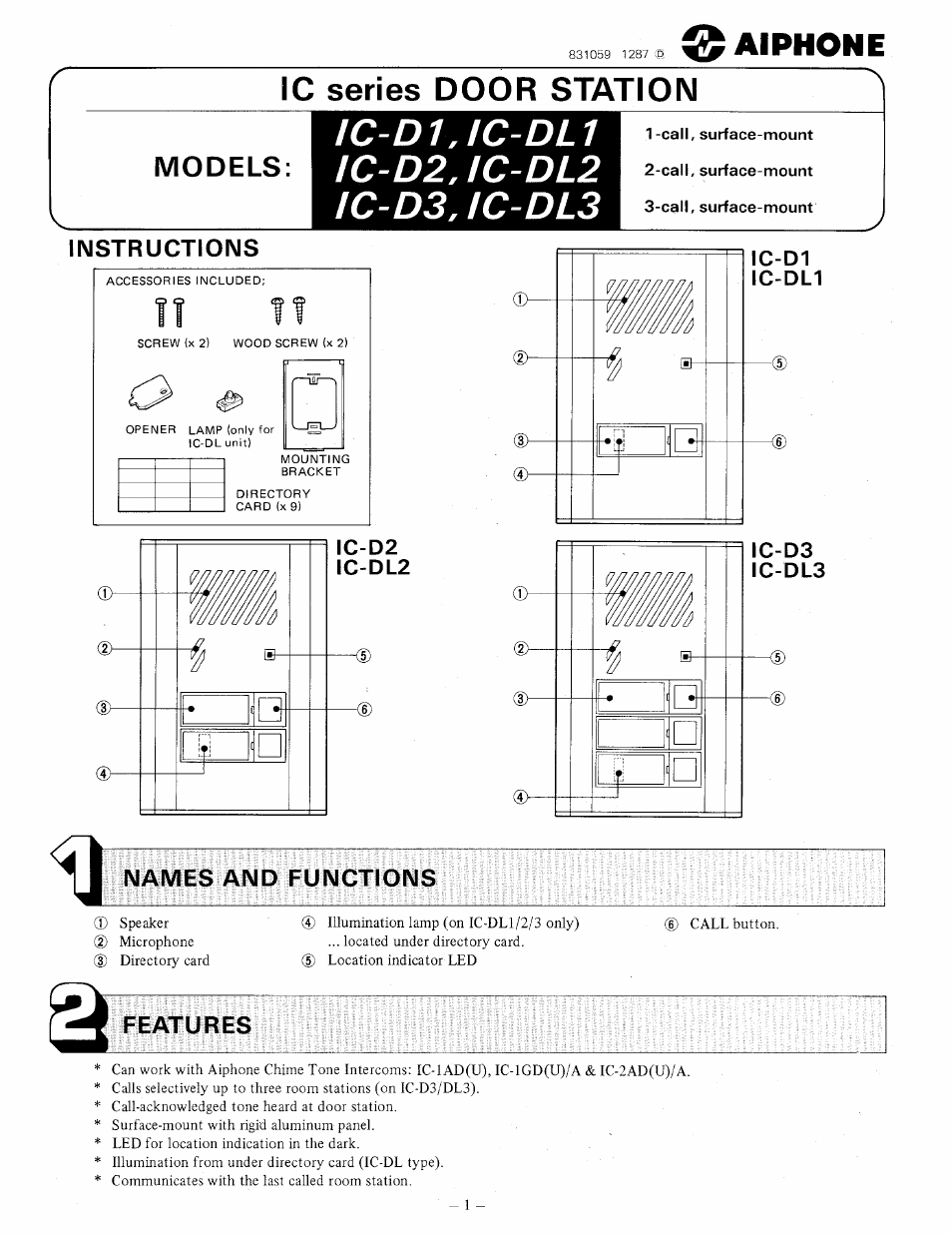 Aiphone DOOR STATION IC-DL1 User Manual | 4 pages | Also for ... on