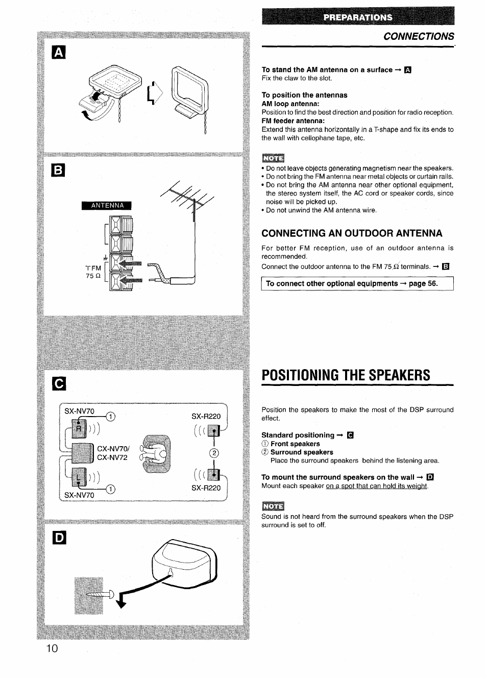 To Stand The Am Antenna On A Surface Position Antennas Aiwa Radio Wiring Diagram Loop Connecting An Outdoor Nsx V72 User Manual Page 10 68