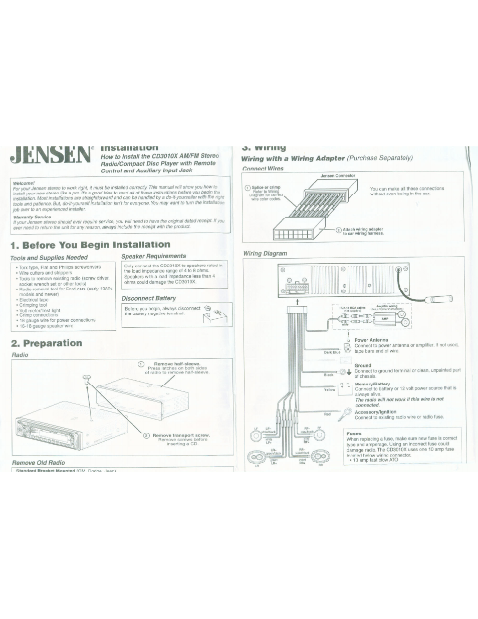 Jkmsejn, Before you begin installation, Preparation | ASA Electronics  CD3010X User Manual | Page 4 / 6