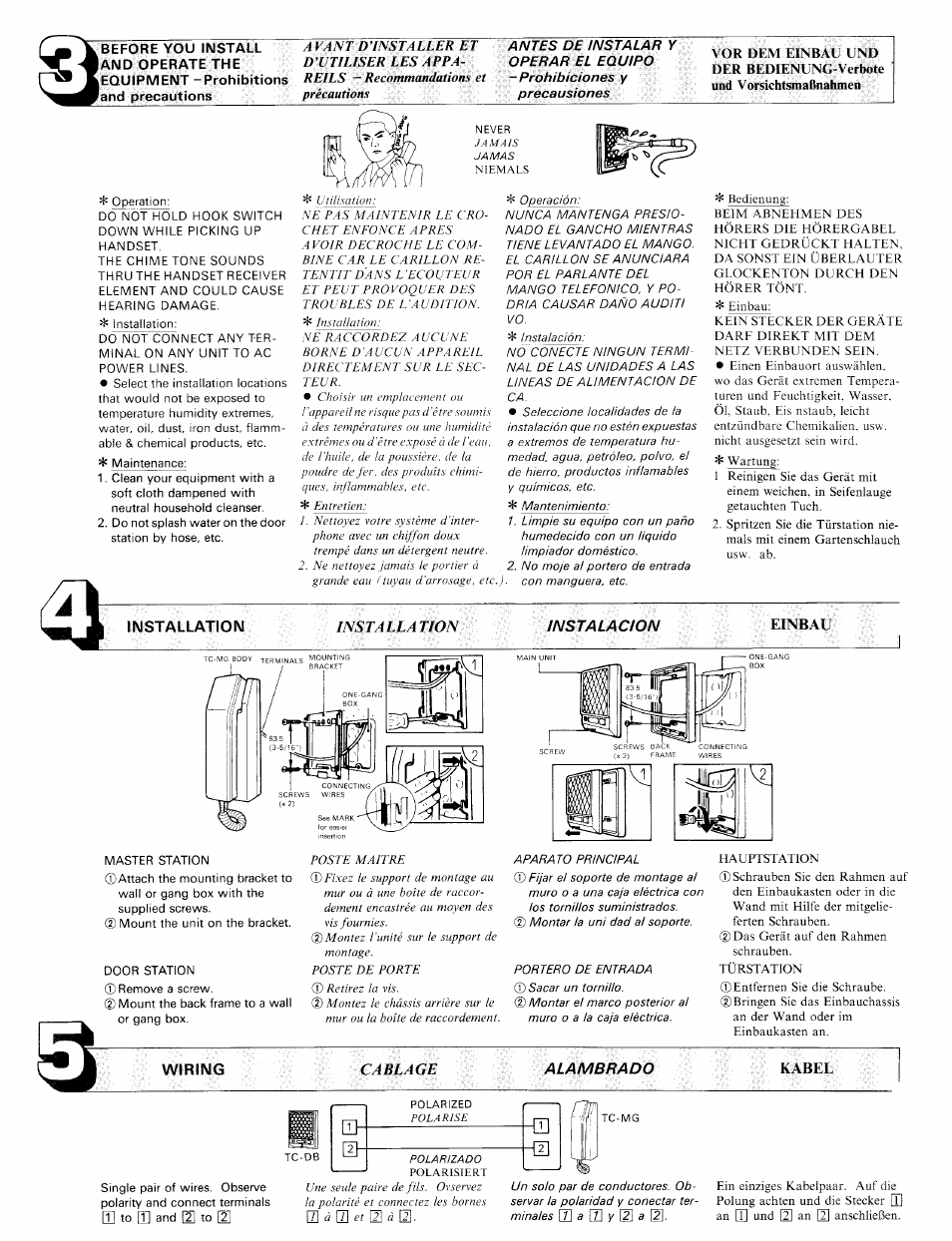 Installation Wiring Kabel Aiphone Tc Mc User Manual Page 2 4 How To Install A New Phone Line From The Box De Marc Isst4lla Tion Cablage Instalacion Einbau
