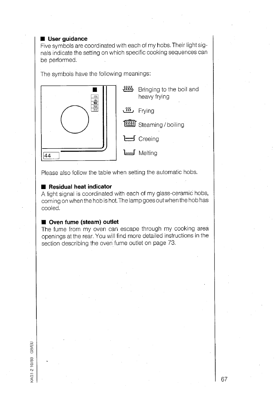 User Guidance Residual Heat Indicator Oven Fume Steam Outlet