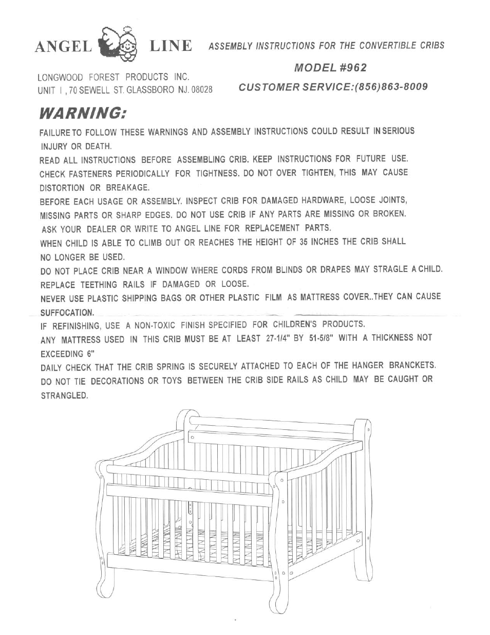 Angel Line Convertible Cribs 962 User Manual 1 Page
