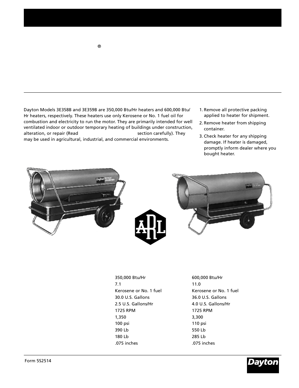 Dayton 3e359b User Manual 24 Pages Also For 3e358b