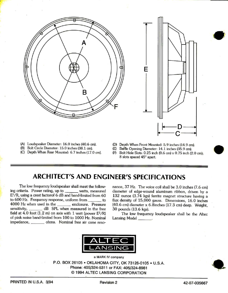 Architect's and engineer's specifications | Altec Lansing