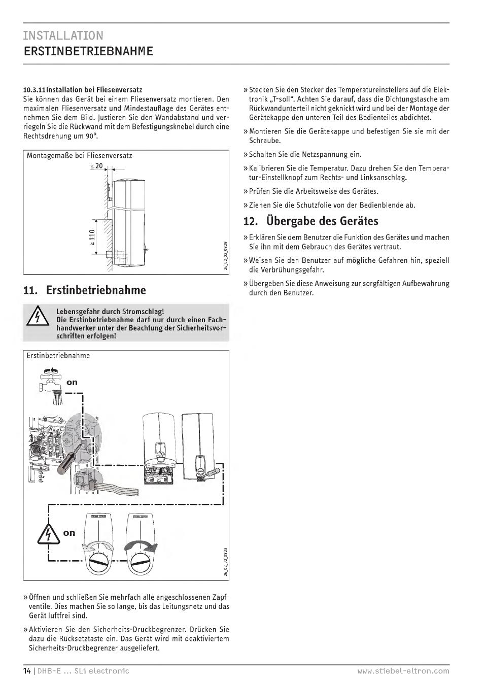 Installation Erstinbetriebnahme Übergabe Des Gerätes STIEBEL - Fliesenversatz