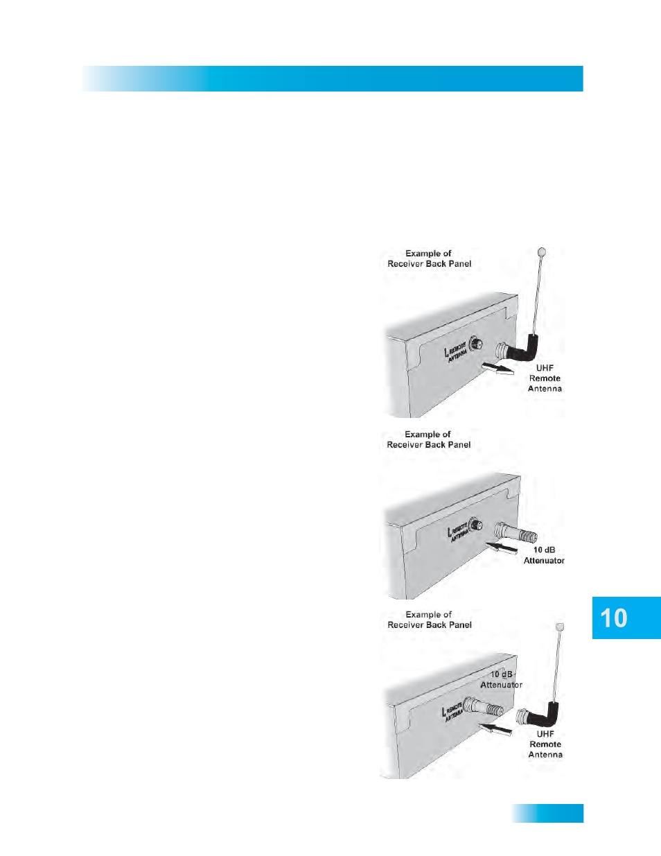 Remote control setup, Installing a uhf attenuator | Dish Network SoloDVR  ViP 612 User Manual | Page 70 / 135