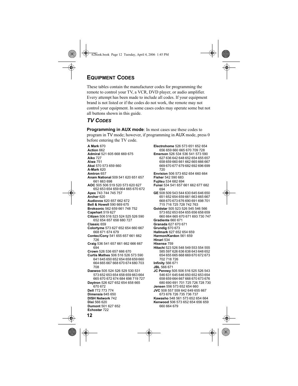 Equipment codes, Ge 12, Tv c   Dish Network DVR 942 User