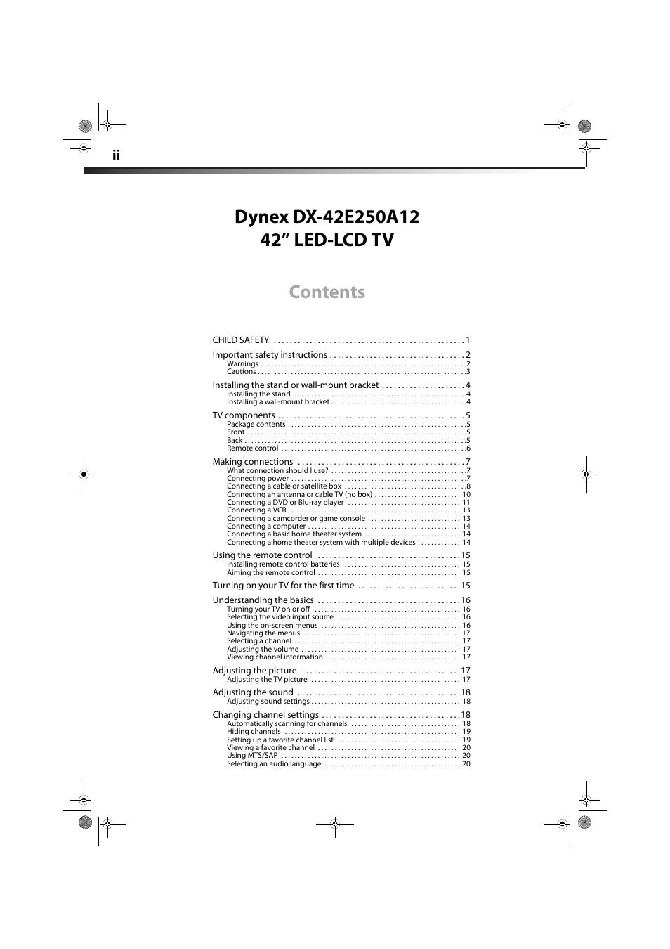Dynex DX-42E250A12 User Manual | Page 2 / 38