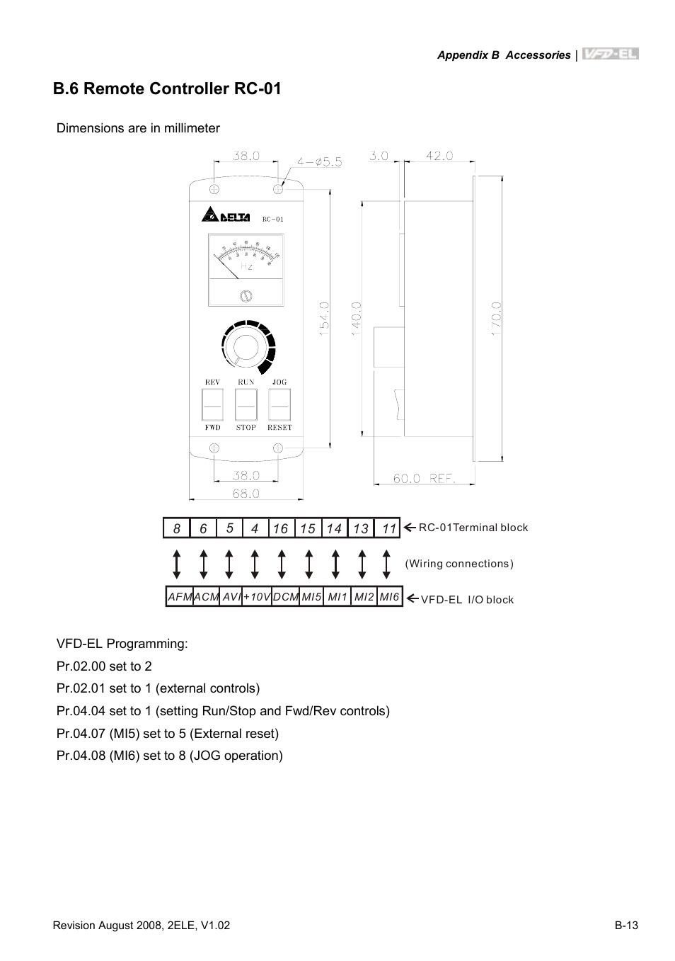 B 6 Remote Controller Rc 01 Delta Electronics Ac Motor Drive Vfd